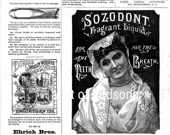 Sewing Ads and Tooth Polish Ad.  Vintage Advertisements.  Printable Digital Download.  1882