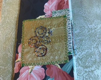 TRAVELERS Notebook Floral Greens Garden. Wallpaper cover, 60 pages. Very nice paper with beautiful stamping. Room to write. Handmade OOAK TN
