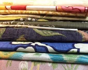 Boho bright fabric bundle: 12 pieces of quality designer fabric, most about 12 x 12 inches, some larger. Great for journals or collage.