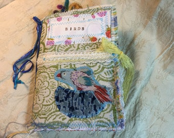 SURPRISE JOURNAL!  Boho Birds Colorful Bird Journal. One-signature junk journal, 140 pages, embellished, cards, pockets, space to write.