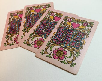 Vintage pink Hoyle LOVE playing cards. Looks like the 1970s! Vintage playing cards, great for junk journals, collage, more. Set of 4 cards.
