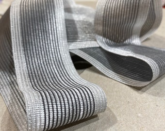 Beautiful silver and gray ribbon. Great for millinery or other crafting; junk journal supplies.