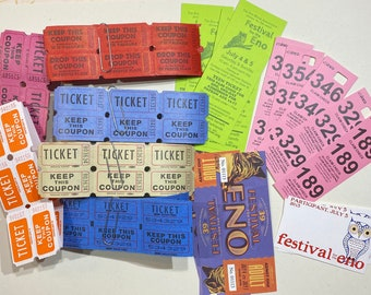 Fun raffle and event tickets. Assortment of 71 tickets. Bright, vintage, new.
