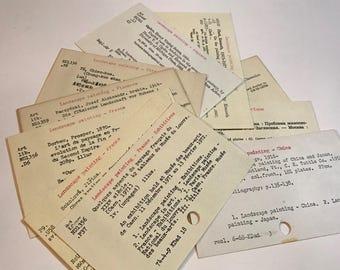 Vintage Library Card Catalog Cards.  Ten Dewey Decimal System Cards great for Junk Journals, Art Journals, Bookmarks, Book Lovers, More.
