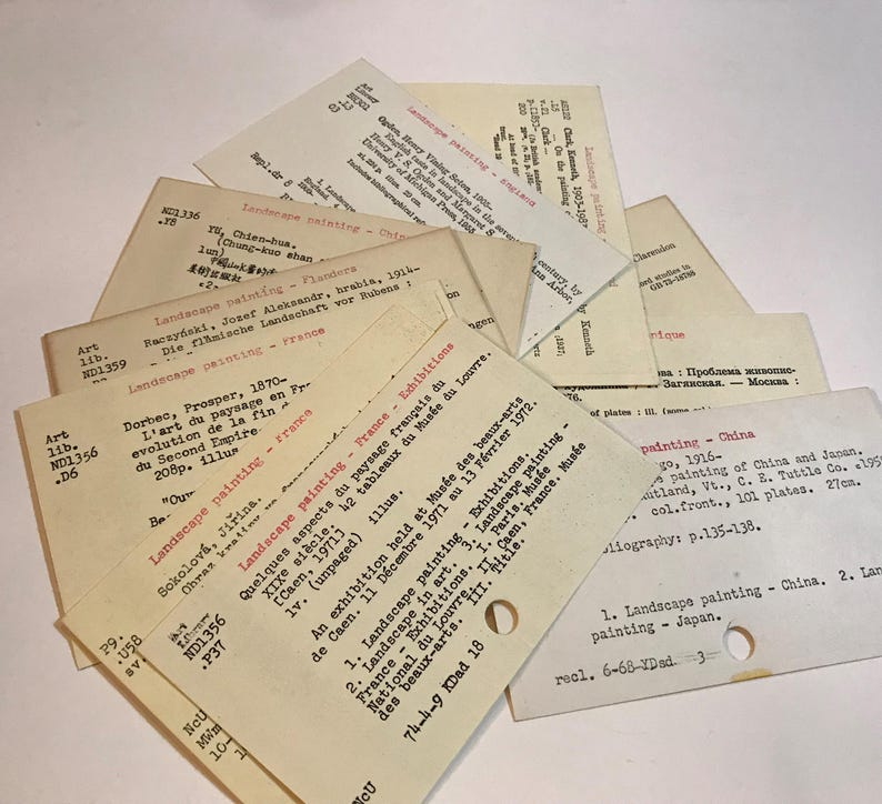 Vintage Library Card Catalog Cards Huge Sale 50 Dewey Etsy
