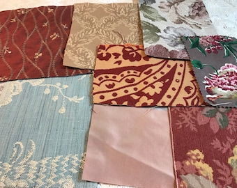 Small Fabric Squares.  Junk Journal Fabric Pack.  35 Pieces / 6+ ounces of Mixed Patterns.  Spring Fabric  / Garden Fabric / Boho Fabric