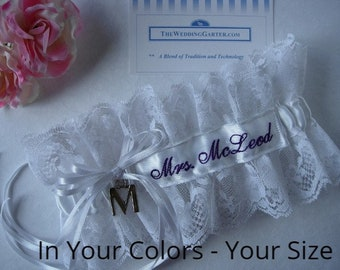 Personalized Wedding Garters -EMBROIDERY ADDITIONAL. Lace Garters, Personalized Garters, Southwestern Wedding Garters, Vintage Garters