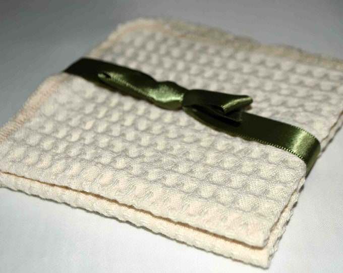 100% Organic Cotton Waffle Weave Natural Dish Cloths-Set of 2-----9x9 inches