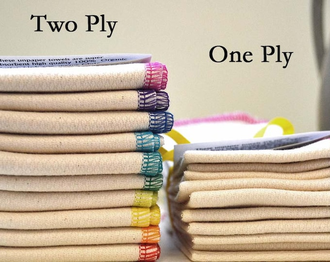 2-Ply, Double Thick Certified Organic Cotton Paperless Towels - 11x12 inches - Free US Shipping -Your Choice of Edging Color and Pack Size