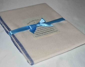 Organic Flannel Receiving or Swaddling Blanket. Sewn with Blue Organic Cotton Thread 28x28 Inches