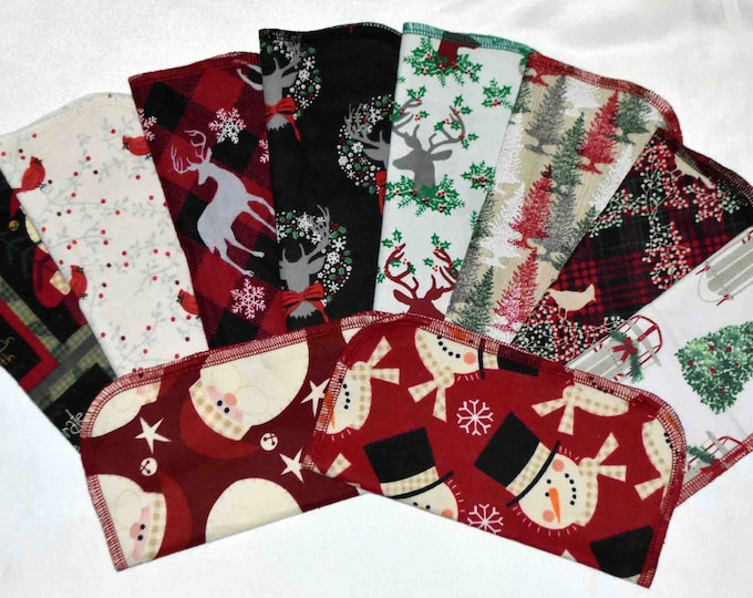Seconds Printed Christmas Sets Flannel 1 Ply... 8x8 10 Pack