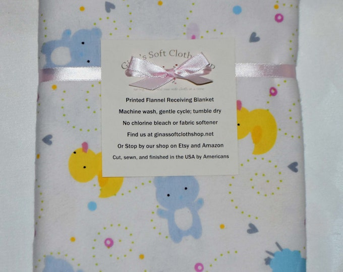 Nursery Animal Cotton Flannel Receiving Blanket 42x42 Inches