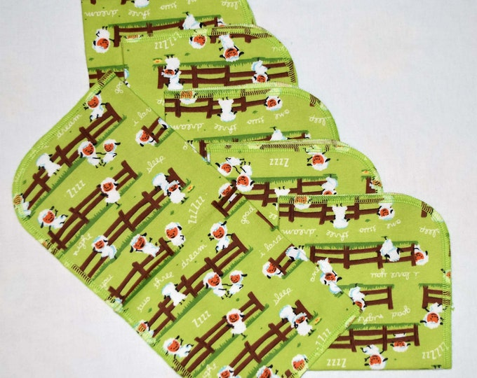 CLOSEOUT!!!!! Green Sheep Set Flannel 1 Ply... 12x12 Little Wipes 6 Pack