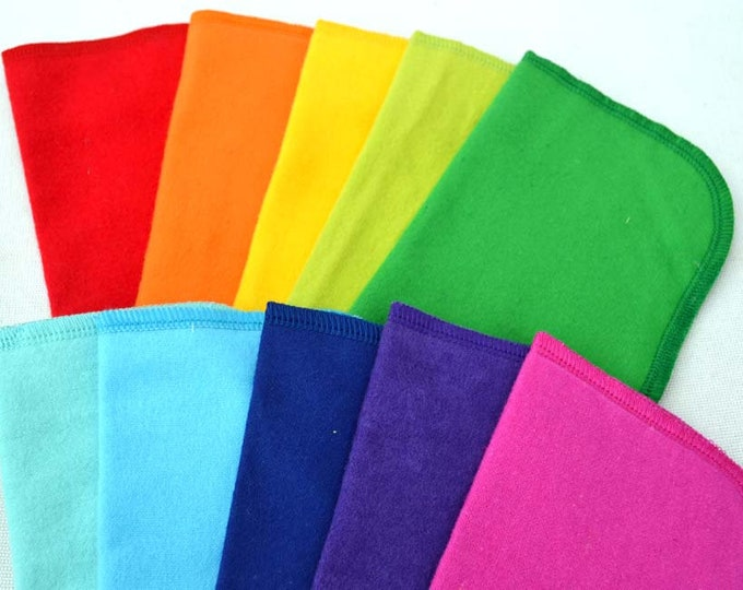Set of 10 2-Ply Solid Color Flannel Washable Napkins 12x12 inches Your choice for color