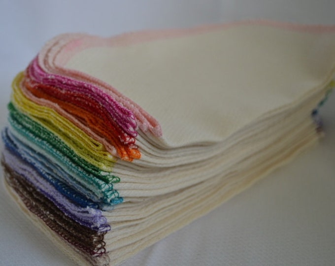 40 pack 2-Ply GOTS Certified Organic Cotton Little Wipes 8x8.....Your Choice of Edging Color