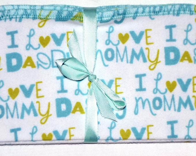 1 Ply Printed Flannel Washable I Love Mommy and Daddy Set Napkins 8x8 inches 5 Pack - Little Wipes (R) Flannel