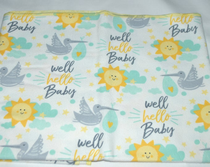 Well Hello Baby- Cotton Flannel Receiving Blanket 42x42 Inches