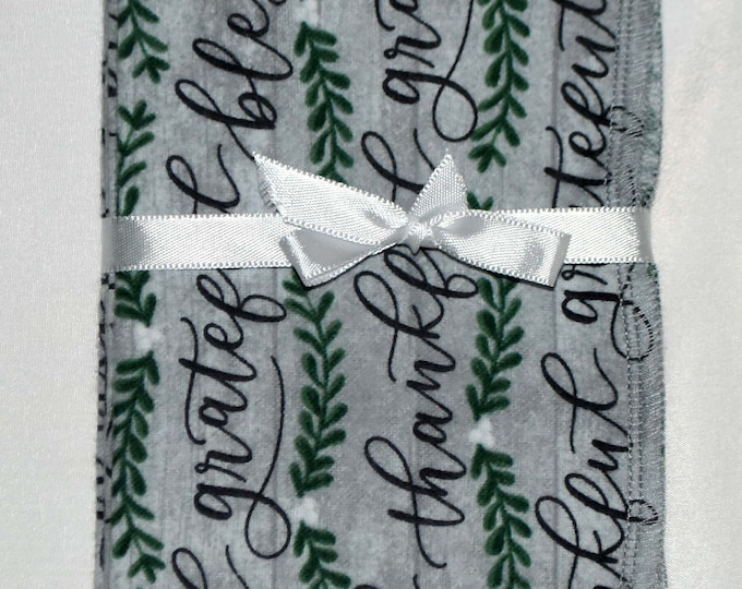 1 Ply Printed Flannel Washable Thankful Set Napkins 8x8 inches 5 Pack - Little Wipes (R) Flannel