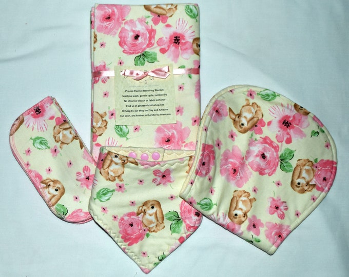 Sweet Rabbit Blanket Set with Matching Burp Cloth, Matching Bib, Matching Little Wipes-Set comes in Gift Box