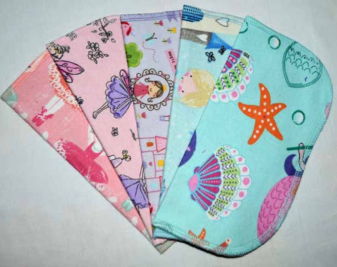 1 Ply Printed Flannel Washable All Things Girl Set Napkins 8x8 inches 5 Pack - Little Wipes (R) Flannel