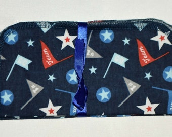 1 Ply Printed Flannel Washable All-Star Team Napkins 8x8 inches 5 Pack - Little Wipes (R) Flannel