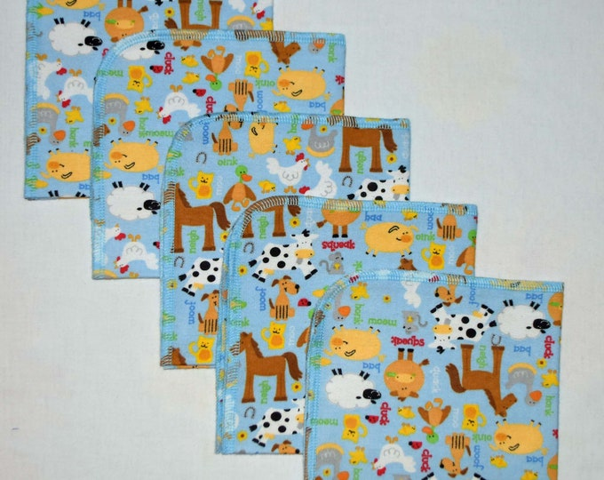 CLOSEOUT!!!!! Blue Farm Animals Flannel Set 1 Ply... 12x12 Little Wipes 5 Pack