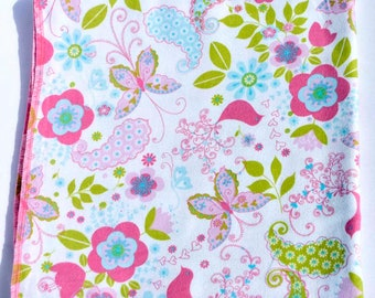 Butterflies and Flowers Cotton Flannel Receiving Blanket 42x42 Inches