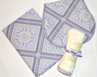 Grey & Deep Lavender Bohemian Blanket Set-with Matching Burp Cloths and 6-Organic Bamboo Velour-Set comes in Gift Box