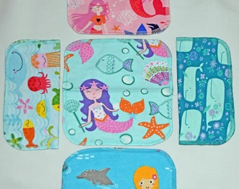 2 Ply Printed Flannel Washable, Mermaid and Friends Set Napkins 8x8 inches 5 Pack - Little Wipes (R) Flannel