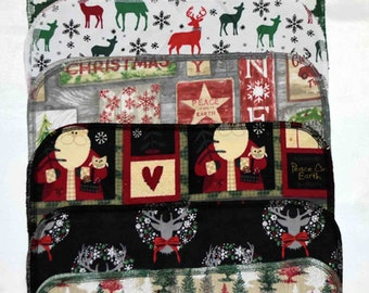 Seconds 1 PLY Printed Christmas Sets Flannel... 14x14 10 Pack