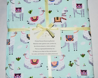Prancing Llamas-Cotton Flannel Receiving Blanket 42x42 Inches