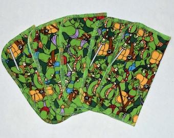 1 Ply Printed Flannel,Teenage Mutant Ninja Turtles Set Napkins 8x8 inches 5 Pack - Little Wipes (R)