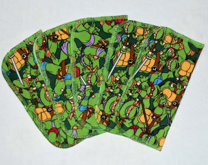 1 Ply Printed Flannel,Teenage Mutant Ninja Turtles Set Napkins 8x8 inches 5 Pack - Little Wipes (R)