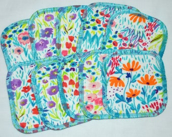 2PLY Printed Flannel Facial Rounds- Flower Fields 10 Pack with Free Mesh Bag