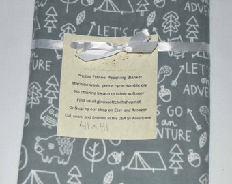 Lets Go on an Adventure- Cotton Flannel Receiving Blanket 41x41 Inches