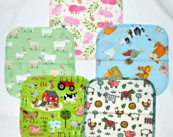 Farm Animals-----Set Napkins 8x8 inches 5 Pack - Little Wipes (R) Flannel