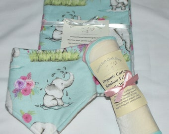 Baby Elephant Blanket Set with Matching Bib, 6-Organic Bamboo Velour-Set comes in Gift Box