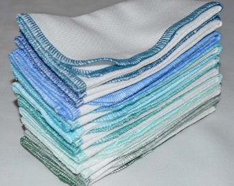 SECONDS.......2 Ply Paperless Towels set of 10 in WHITE Cotton Birdseye Fabric