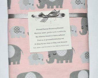 Pink Elephants-Cotton Flannel Receiving Blanket 42x42 Inches