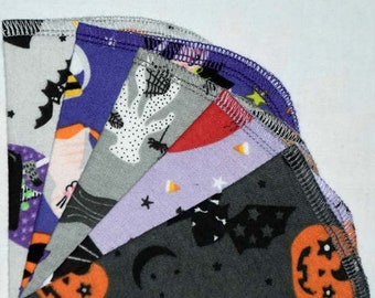 2 Ply Printed Flannel Washable, Creepy Cuties Halloween Set Napkins 8x8 inches 5 Pack - Little Wipes (R) Flannel