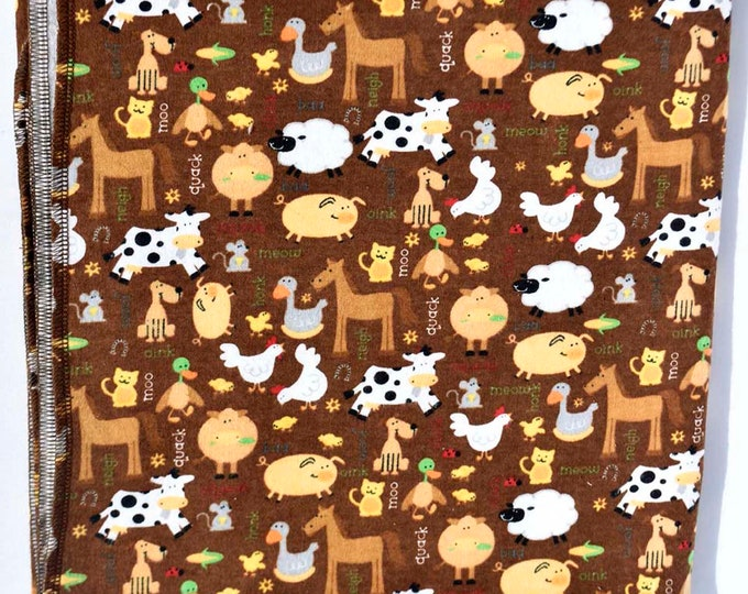 Neutral Farm Life Cotton Flannel Receiving Blanket 42x42 Inches