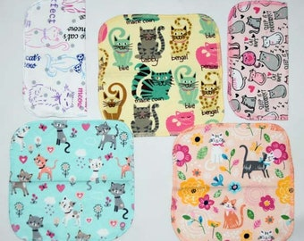 1 Ply Printed Flannel Washable, The Cats Meow Set Napkins 8x8 inches 5 Pack - Little Wipes (R) Flannel
