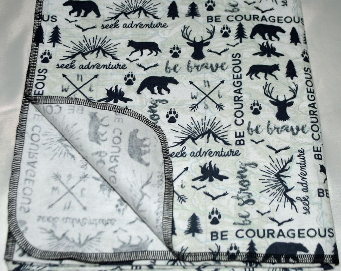 Be Courageous & Seek Adventure-Cotton Flannel Receiving Blanket 42x42 Inches
