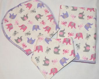 Fun Monkey & Elephant Baby Gift Set-Blanket, Burp Cloth, and Bib 100% Cotton-In Beautiful White Gift Box