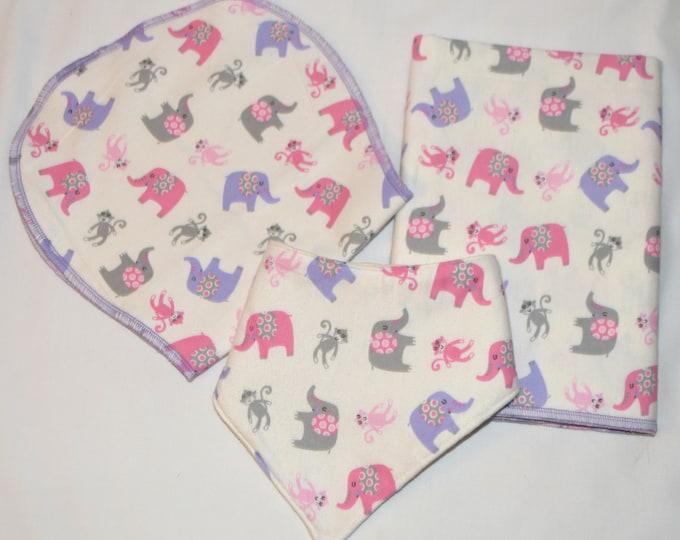 Fun Monkey & Elephant Baby Gift Set-Blanket, Burp Cloth, and Bib 100% Cotton-In Beautiful White Gift Box