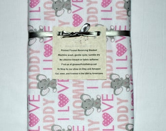 I Love Mommy and Daddy Pink Elephant Cotton Flannel Receiving Blanket 42x42 Inches
