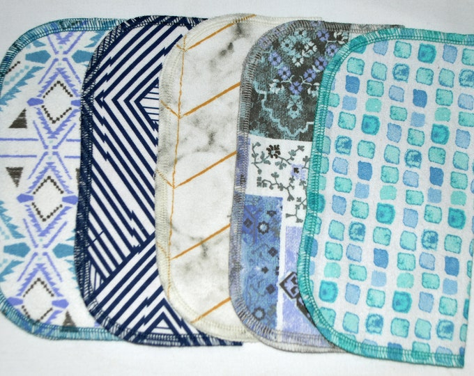 1 Ply Bohemian Tile Set--Printed Flannel Napkins 8x8 inches 5 Pack - Little Wipes (R) Flannel Washable