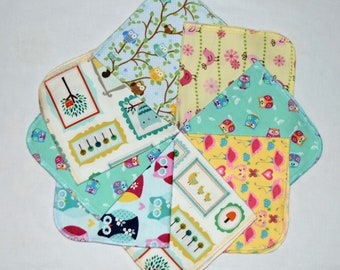 CLOSEOUT!!!!! Owls and Birds Variety Set Flannel 1 Ply... 12x12 Little Wipes 5 Pack