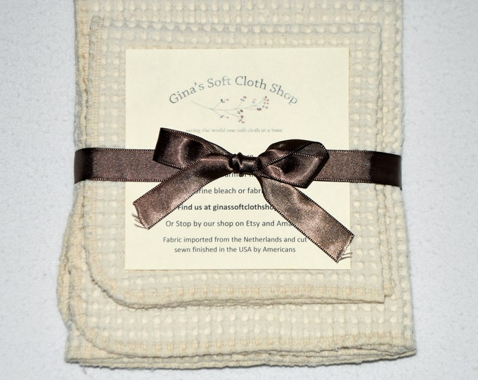 100% Organic Cotton Waffle Weave Natural Dish Cloths-Set of 2-----15x20 & 12x12