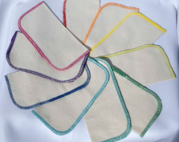 SECONDS 8x8 inches Organic Flannel Baby Wipes, Napkins or Washcloths, Pack of 10 - Great Bargain